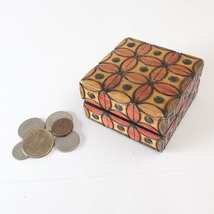Hand Carved Petite Wooden Stash Box Morocco India